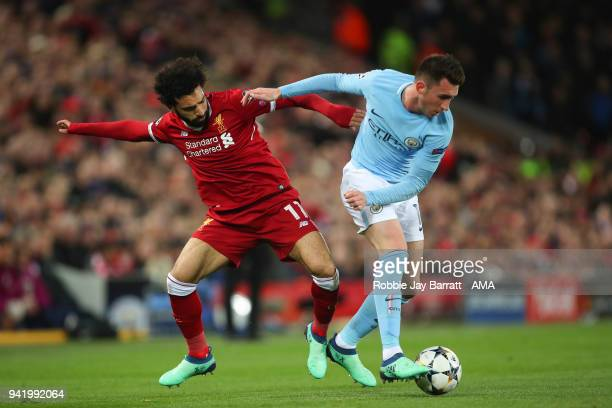 Mohamed Salah of Liverpool and Aymeric Laporte of Manchester City during the UEFA Champions League Quarter Final first leg match between Liverpool...