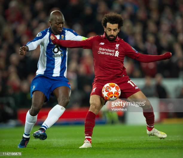 Mohamed Salah of Liverpool and Danilo of FC Porto in action during the UEFA Champions League Quarter Final first leg match between Liverpool and...