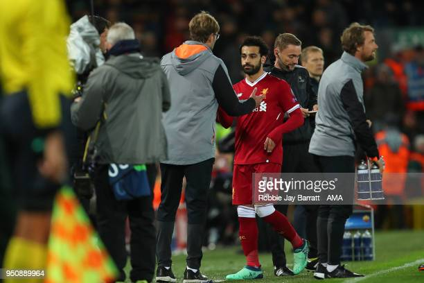 Mohamed Salah of Liverpool and Jurgen Klopp manager / head coach of Liverpool during the UEFA Champions League Semi Final First Leg match between...