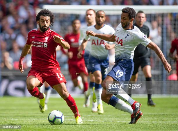 Mohamed Salah of Liverpool and Mousa Dembele of Tottenham Hotspur during the Premier League match between Tottenham Hotspur and Liverpool FC at...
