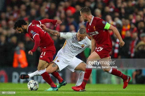 Mohamed Salah of Liverpool and Radja Nainggolan of AS Roma during the UEFA Champions League Semi Final First Leg match between Liverpool and AS Roma...