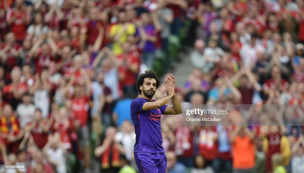 Mohamed Salah of Liverpool applauds the supporters during the international friendly game between Liverpool and Napoli at Aviva Stadium on August 4, 2018 in Dublin, Ireland.