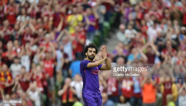 Mohamed Salah of Liverpool applauds the supporters during the international friendly game between Liverpool and Napoli at Aviva Stadium on August 4...