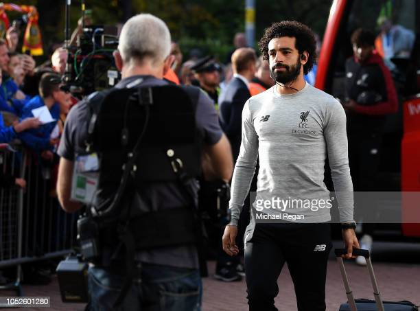 Mohamed Salah of Liverpool arrives at the stadium prior to kick off during the Premier League match between Huddersfield Town and Liverpool FC at...