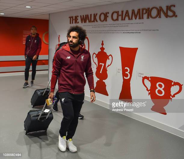 Mohamed Salah of Liverpool arrives before the Group C match of the UEFA Champions League between Liverpool and Paris SaintGermain at Anfield on...