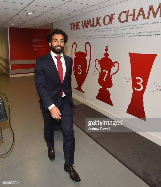 Mohamed Salah of Liverpool arrives before the Premier League match between Liverpool and Arsenal at Anfield on August 27 2017 in Liverpool England