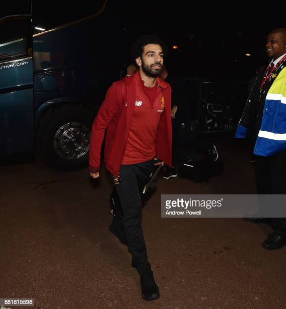 Mohamed Salah of Liverpool arrives before the Premier League match between Stoke City and Liverpool at Bet365 Stadium on November 29 2017 in Stoke on...