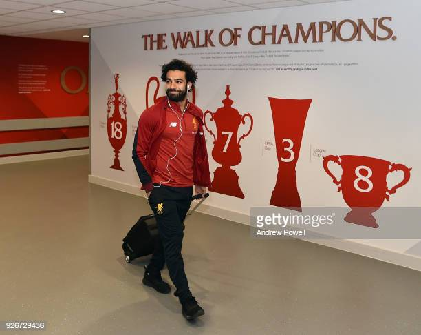 Mohamed Salah of Liverpool arrives before the Premier League match between Liverpool and Newcastle United at Anfield on March 3 2018 in Liverpool...