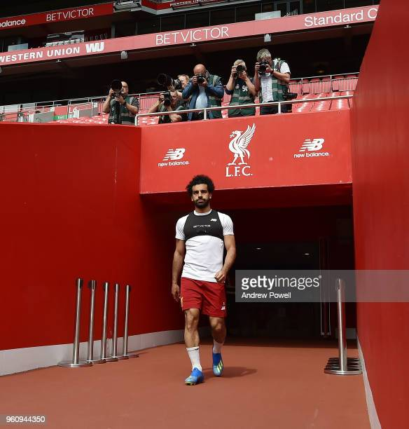 Mohamed Salah of Liverpool arrives before the Training session at Anfield on May 21 2018 in Liverpool England