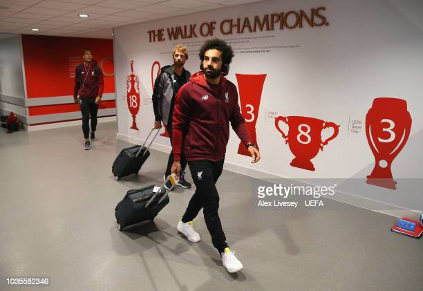 Mohamed Salah of Liverpool arrives for the Group C match of the UEFA Champions League between Liverpool and Paris SaintGermain at Anfield on...
