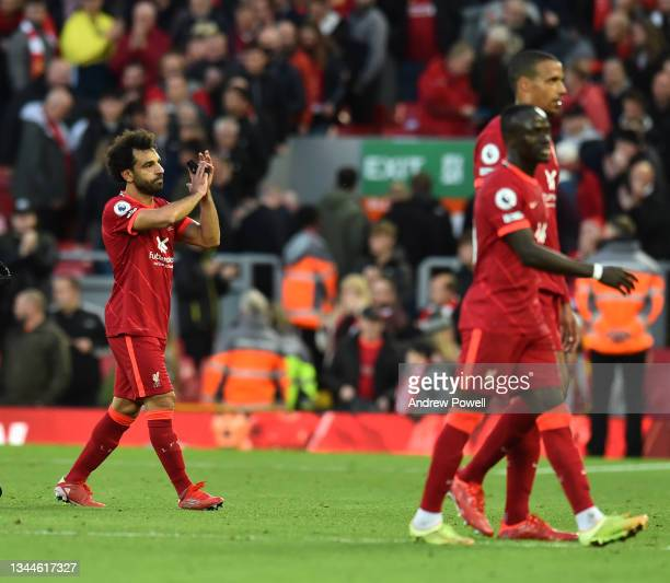 Mohamed Salah of Liverpool at the end of the Premier League match between Liverpool and Manchester City at Anfield on October 03, 2021 in Liverpool,...