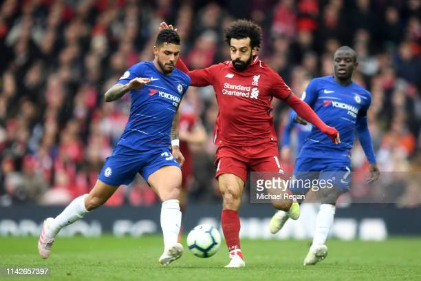 Mohamed Salah of Liverpool battles with Emerson of Liverpool during the Premier League match between Liverpool FC and Chelsea FC at Anfield on April...