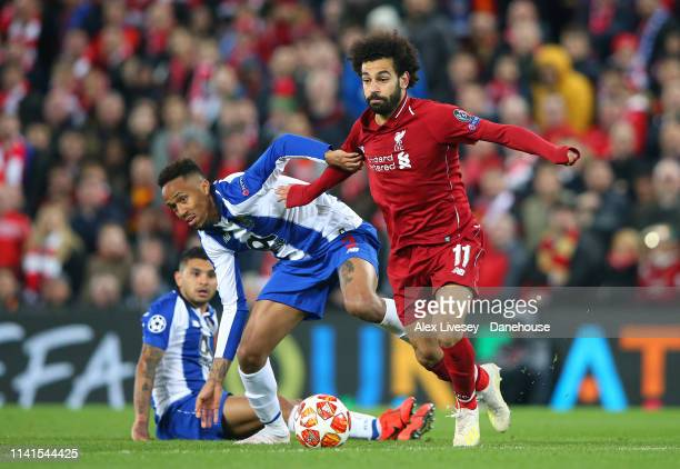 Mohamed Salah of Liverpool beats Eder Militao of Porto during the UEFA Champions League Quarter Final first leg match between Liverpool and Porto at...