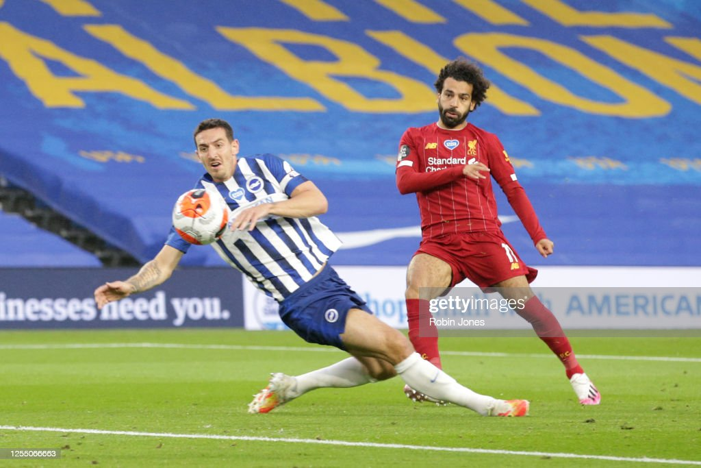 Mohamed Salah of Liverpool beats Lewis Dunk of Brighton & Hove ...
