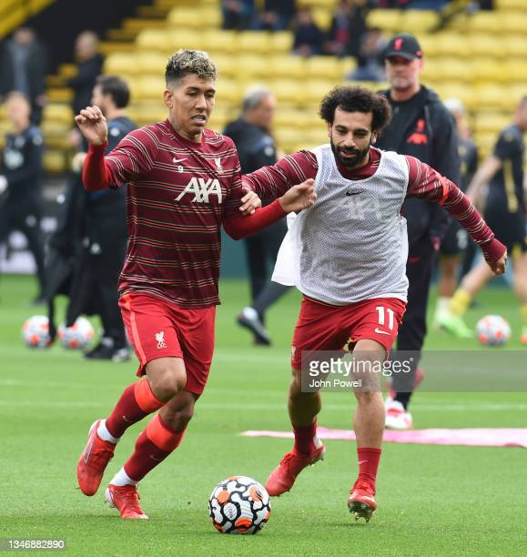 Mohamed Salah of Liverpool before the Premier League match between Watford and Liverpool at Vicarage Road on October 16, 2021 in Watford, England.