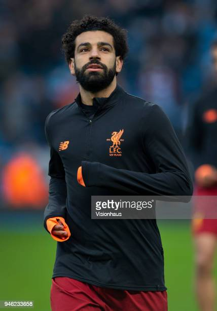Mohamed Salah of Liverpool before the UEFA Champions League quarter final 2nd leg tie between Manchester City and Liverpool at the Etihad Stadium on...