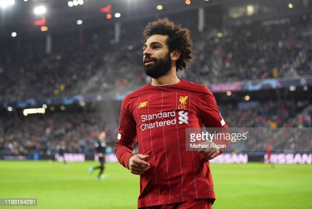 Mohamed Salah of Liverpool celebrates after he scores his team's second goal during the UEFA Champions League group E match between RB Salzburg and...