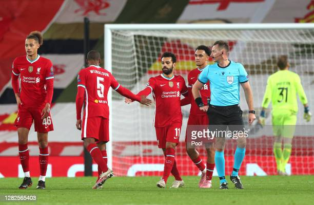 Mohamed Salah of Liverpool celebrates after he scores his team's second goal from the penalty spot during the UEFA Champions League Group D stage...