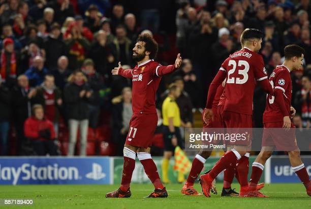 Mohamed Salah of Liverpool celebrates after scoring a goal during the UEFA Champions League group E match between Liverpool FC and Spartak Moskva at...