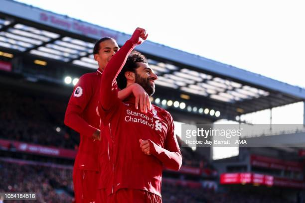 Mohamed Salah of Liverpool celebrates after scoring a goal to make it 10 during the Premier League match between Liverpool FC and Cardiff City at...