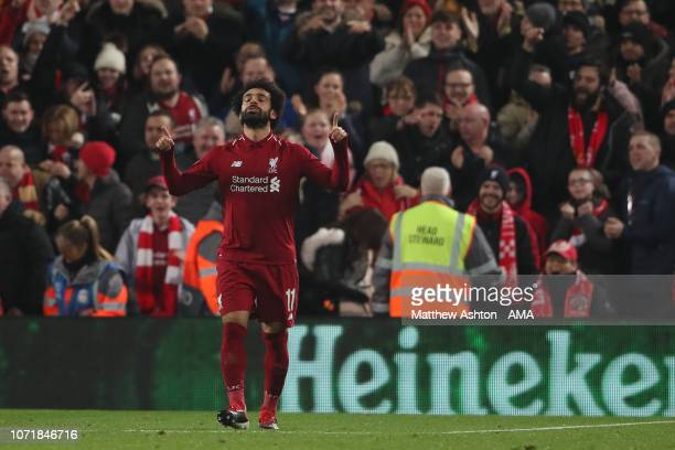Mohamed Salah of Liverpool celebrates after scoring a goal to make it 10 during the UEFA Champions League Group C match between Liverpool and SSC...