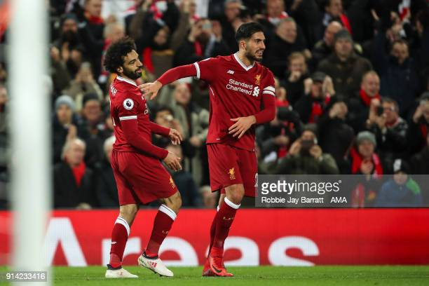 Mohamed Salah of Liverpool celebrates after scoring a goal to make it 21 during the Premier League match between Liverpool and Tottenham Hotspur at...
