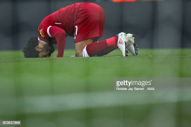 Mohamed Salah of Liverpool celebrates after scoring a goal to make it 20 during the Premier League match between Liverpool and West Ham United at...