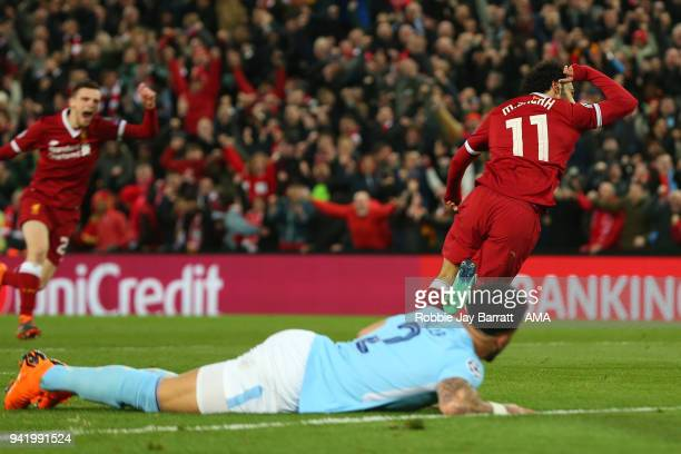 Mohamed Salah of Liverpool celebrates after scoring a goal to make it 10 during the UEFA Champions League Quarter Final first leg match between...