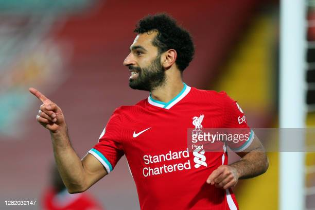 Mohamed Salah of Liverpool celebrates after scoring a goal which is then disallowed following a VAR review during the Premier League match between...
