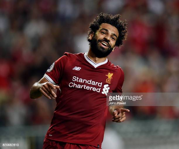Mohamed Salah of Liverpool celebrates after scoring during the Premier League Asia Trophy match between Liverpool FC and Leicester City FC at the...