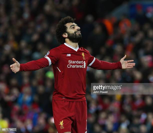 Mohamed Salah of Liverpool celebrates after scoring during the UEFA Champions League group E match between Liverpool FC and Spartak Moskva at Anfield...