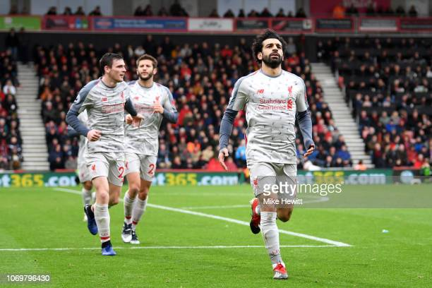 Mohamed Salah of Liverpool celebrates after scoring his hatrick and his team's fourth goal during the Premier League match between AFC Bournemouth...