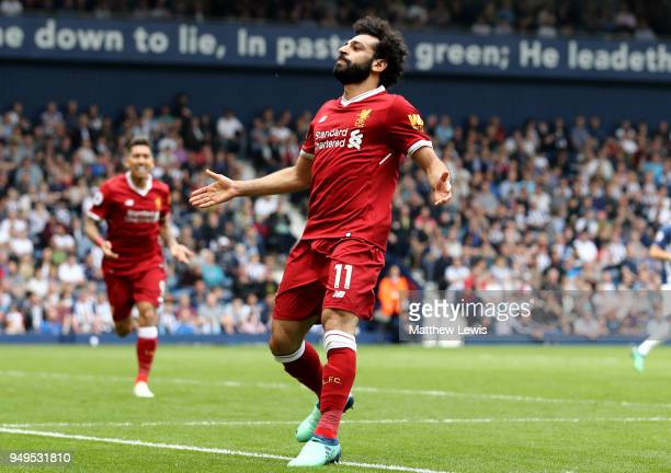 Mohamed Salah of Liverpool celebrates after scoring his sides second goal during the Premier League match between West Bromwich Albion and Liverpool...