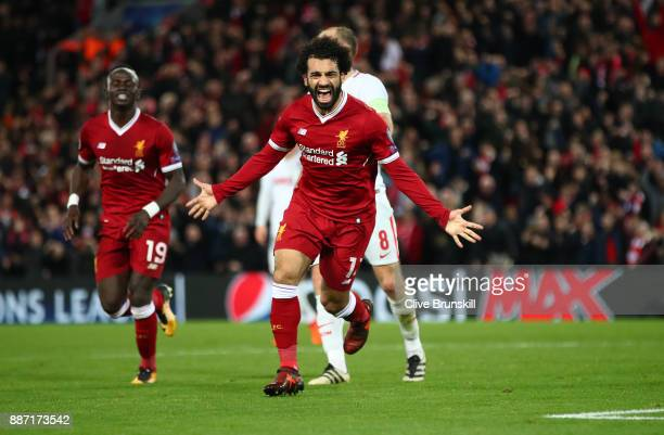 Mohamed Salah of Liverpool celebrates after scoring his sides seventh goal during the UEFA Champions League group E match between Liverpool FC and...