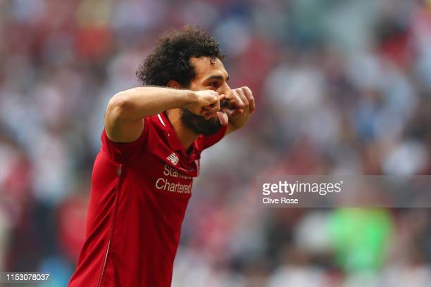 Mohamed Salah of Liverpool celebrates after scoring his team's first goal during the UEFA Champions League Final between Tottenham Hotspur and...