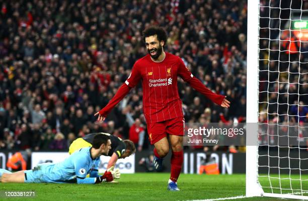 Mohamed Salah of Liverpool celebrates after scoring his team's fourth goal during the Premier League match between Liverpool FC and Southampton FC at...