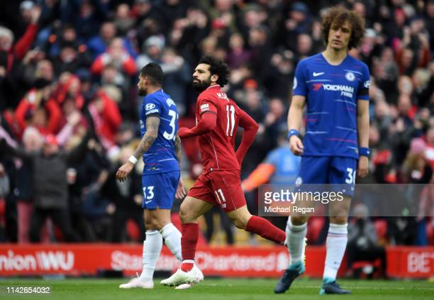 Mohamed Salah of Liverpool celebrates after scoring his team's second goal during the Premier League match between Liverpool FC and Chelsea FC at...