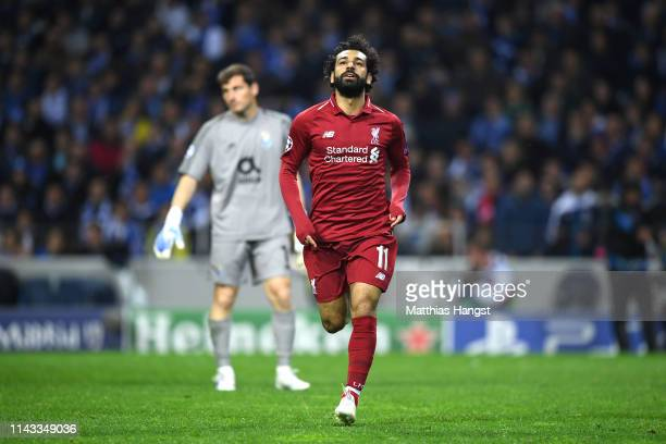 Mohamed Salah of Liverpool celebrates after scoring his team's second goal during the UEFA Champions League Quarter Final second leg match between...