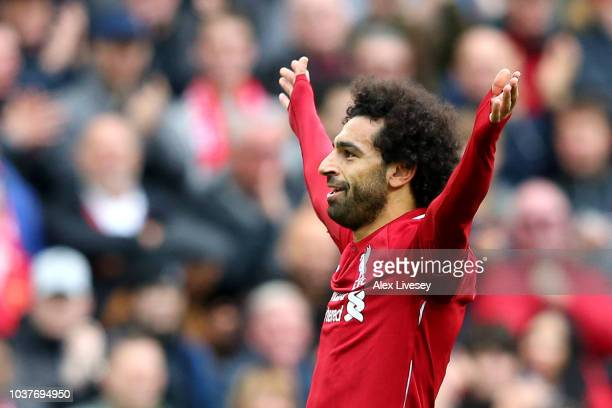 Mohamed Salah of Liverpool celebrates after scoring his team's third goal during the Premier League match between Liverpool FC and Southampton FC at...