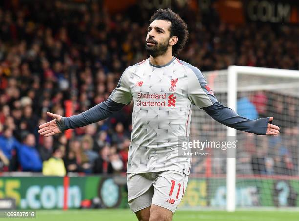 Mohamed Salah of Liverpool celebrates after scoring his third and Liverpool's fourth goal during the Premier League match between AFC Bournemouth and...