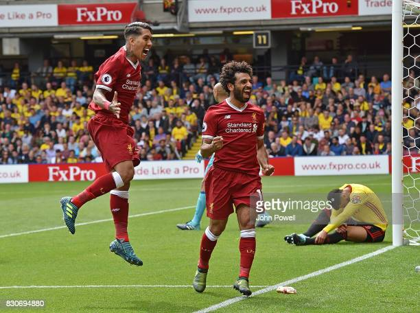Mohamed Salah of Liverpool Celebrates after scoring liverpools third during the Premier League match between Watford and Liverpool at Vicarage Road...