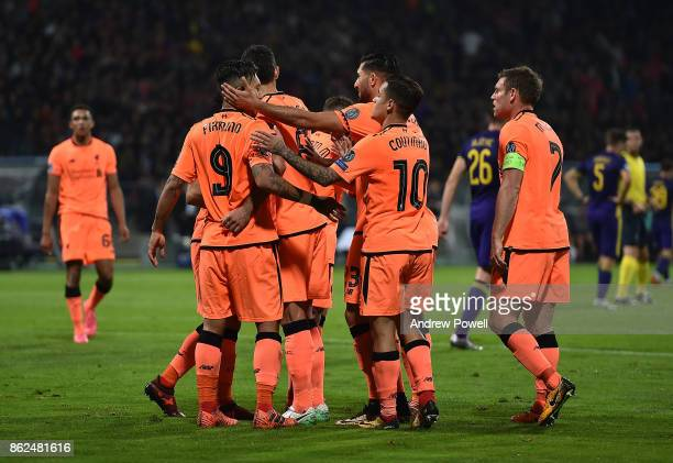 Mohamed Salah of Liverpool celebrates after scoring the fourth goal during the UEFA Champions League group E match between NK Maribor and Liverpool...