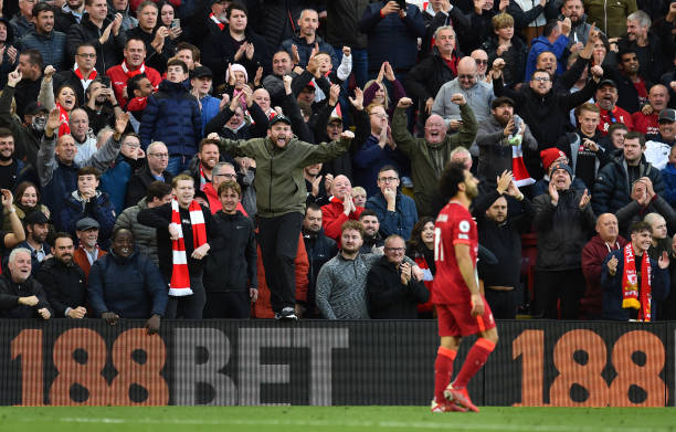 Mohamed Salah of Liverpool celebrates after scoring the second goal during the Premier League match between Liverpool and Manchester City at Anfield...