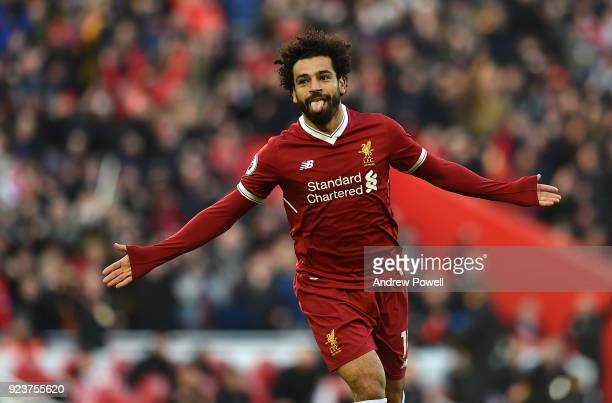 Mohamed Salah of Liverpool celebrates after scoring the second goal during the Premier League match between Liverpool and West Ham United at Anfield...