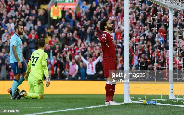 Mohamed Salah of Liverpool celebrates after scoring the second goal during the Premier League match between Liverpool and AFC Bournemouth at Anfield...