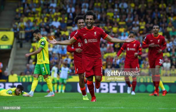 Mohamed Salah of Liverpool celebrates after scoring the third goal during the Premier League match between Norwich City and Liverpool at Carrow Road...