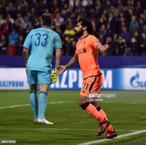 Mohamed Salah of Liverpool celebrates after scoring the third goal during the UEFA Champions League group E match between NK Maribor and Liverpool FC...