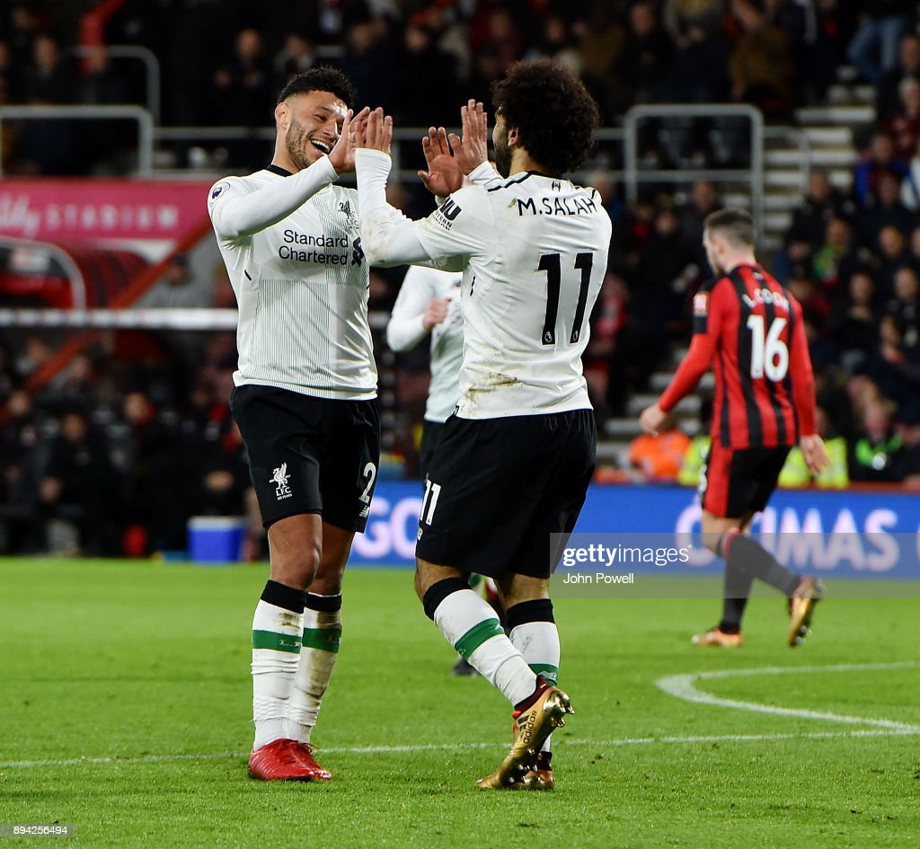 Mohamed Salah of Liverpool celebrates after scoring the third goal during the Premier League match between AFC Bournemouth and Liverpool at Vitality Stadium on December 17, 2017 in Bournemouth, England.
