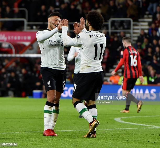 Mohamed Salah of Liverpool celebrates after scoring the third goal during the Premier League match between AFC Bournemouth and Liverpool at Vitality...