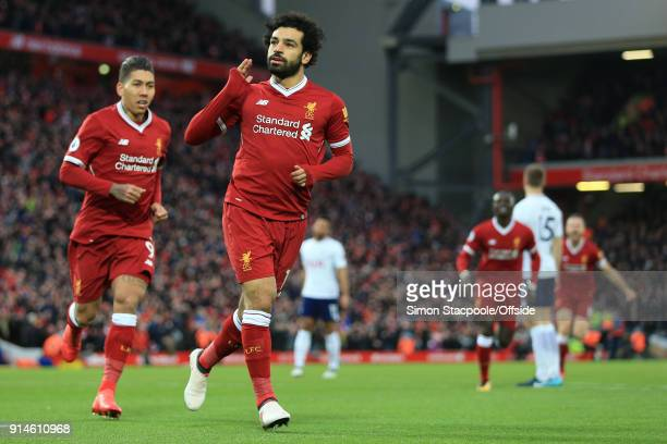 Mohamed Salah of Liverpool celebrates after scoring their 1st goal during the Premier League match between Liverpool and Tottenham Hotspur at Anfield...